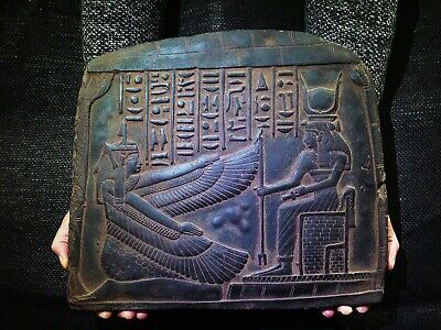 EGYPTIAN ANTIQUES ANTIQUITIES Goddess Maat And Isis Stela Stele 2510-2370 BC
