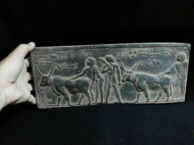 EGYPTIAN ANTIQUES ANTIQUITY Farmers Plowing Field Stela Stele 1100-1001 BC