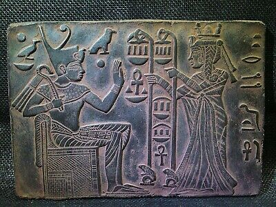 EGYPTIAN ANTIQUE ANTIQUITY Tutankhamen And Wife Stela Stele 1355-1342 BC