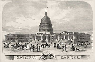 United States Capitol Building 1856 Projected View, Horses Carriages Huge Print