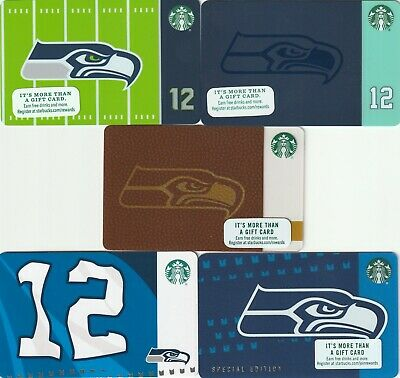 Starbucks Gift Card Seattle Seahawks 5 card lot 2015 to 2019