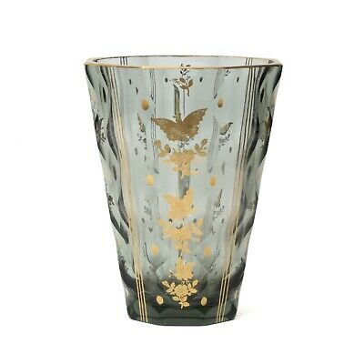 Rare antique Czech smoky glass vase by Moser with gold gilt butterflies flowers