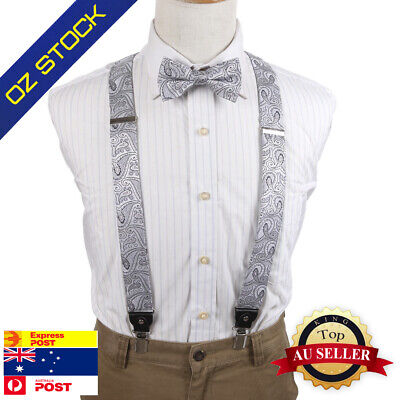 Grey Patterned Braces Bowtie Set for Y-Back Suspenders Button-on Epoint EFCB0031