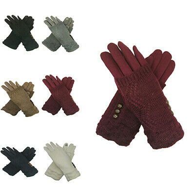 Ladies Women Fashion Gloves 3 in 1 Cosy Knit Fingerless Mittens Touch Screen