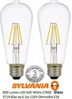 Sylvania Vintage Filament LED Light Glass Bulb ST19 Dimmable 60W E26 Edison Warm