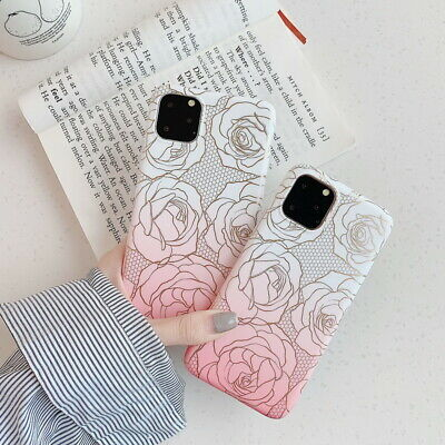 For iPhone 11 Pro XS Max XR X XS 7 8 6s Pink Rose Matte Silicone Soft Case Cover