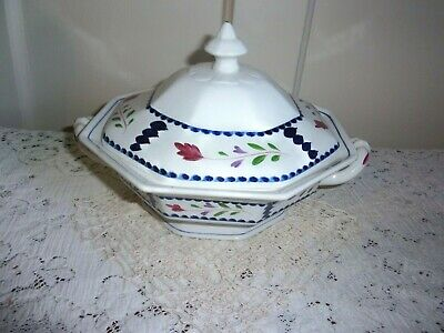 Adams China Co. Lancaster Hand Painted English Ironstone Covered Vegetable Bowl