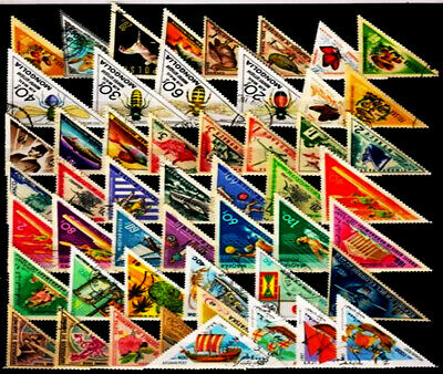 Lot 50 pcs Different World wide MINT CTO Off Paper Triangle stamps