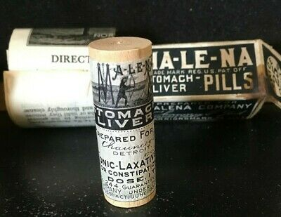 Antique Medicine Wood W/Box: Ma-Le-Na Pills 1906 Info Graphic Of Indian Scene