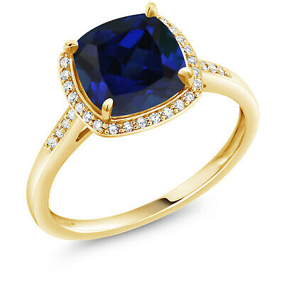 2.50 Ct Cushion Blue Created Sapphire 10K Yellow Gold Engagement Ring
