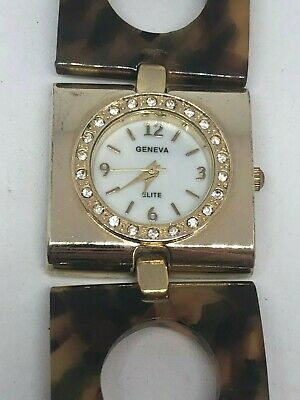 Working Ladies Gold and Faux Tortoise Shell Geneva Watch BH