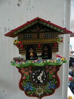Vintage German Style Miniature Cuckoo Clock Style Wall Hanging Clock