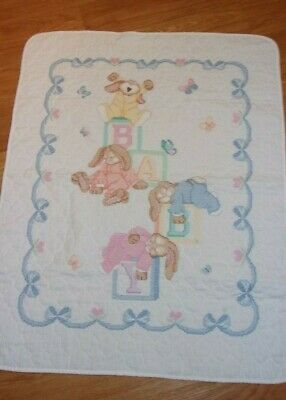 "Hand Embroidered Baby Crib Quilt 34"" x 43"" Completed"