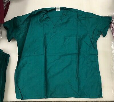 4 pack - The Sewing Source Unisex Scrub Top - Medium - Teal/Green