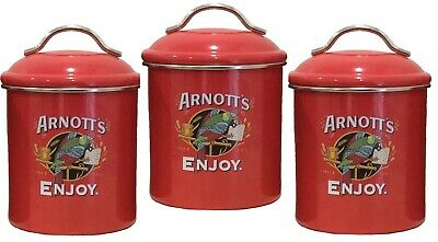 Arnotts Metal Red  Canister SET of 3