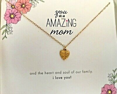 """NEW Dogeared """"Amazing Mom"""" Heart Charm Necklace gold dipped sterling silver"""