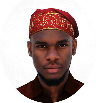 African Red Kufi Hat with Gold Embroidery DPH4004