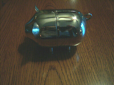Vtg Older Neat Adorable.baby Gift Collector's Silver Tone Pig Biggy Bank