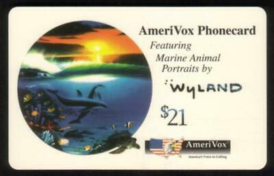 5x $21. Wyland Whale & Dolphin Cards: Set of 5 Diff Cards (1994) USED Phone Card