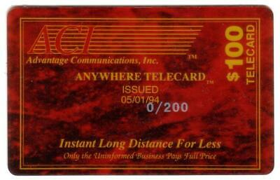 $100. Advantage Commun Corporate Anywhere Telecard RED 0/200 SPECIMEN Phone Card
