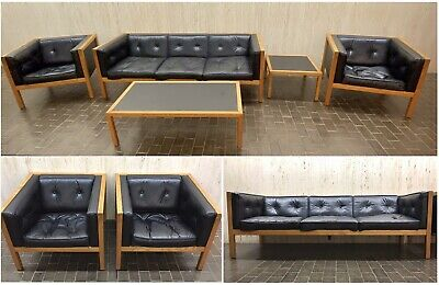 George Nelson Herman Miller Cube Series Leather Sofa Chair End Coffee Table Vtg