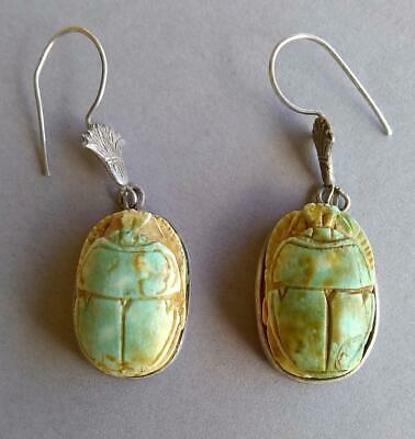 Ancient Egyptian Scarab Bead Earrings Genuine Authentic