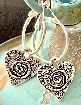 Beautiful Etched Antique Silver Dangle Lever back Hoop Earrings. Hearts