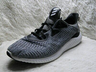 Adidas Alphabounce Mens Running Shoes Size 9.5 Gray Black Trainers FREE S&H