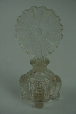 Vintage Clear Cut Art Glass Crystal Perfume Vanity Bottle Made in USA