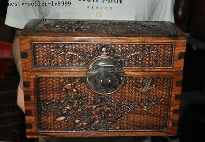 Chinese Huanghuali wood Carving flower bird Magpie bat Jewelry box storage Boxes