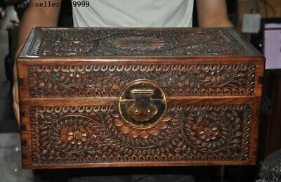 China Huanghuali wood Carving Plum blossom flower Jewelry Box storage box Boxes