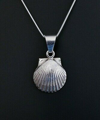 "Vtg Sterling Silver TAXCO Ocean Clam Seashell Pendant Necklace, 1 7/8"" 12.7g"