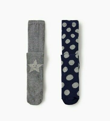 Zara Baby Girl Two-Pack Tights Embellished Navy Blue /Gray Sz 6-12 Months Nwt