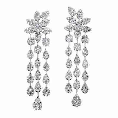 Dangling Chandelier 8.00CT Cubic Zirconia Engagement Earrings Set In 925 Silver