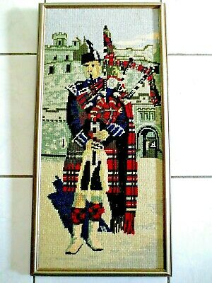 Tapestry Picture Completed & Framed Scottish Bagpipe Player