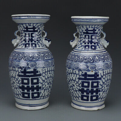 A Pair lovely Chinese Blue&white Porcelain Two Xi Vase
