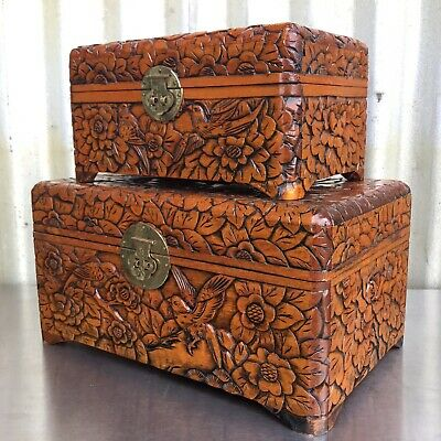 2x BEAUTIFUL Hand Carved CAMPHOR WOOD BOXES Trinket/Jewellery BIRDS & FLOWERS