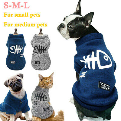 Pet Clothes Fishbone Puppy Dog Jumper Sweater For Small Dogs Coat Cat UK STOCK