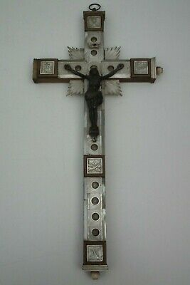 Crucific mother of pearl christ Jesus reliquary relics Israel Jerusalem 19th C