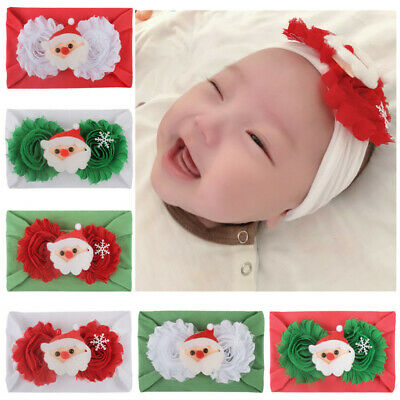 Christmas Baby Kids Headwrap Bow Knot Elastic Hairband Headband Accessories CL