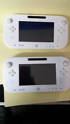 Two White OFFICIAL Nintendo Wii U Black Gamepad Screen Unit Only