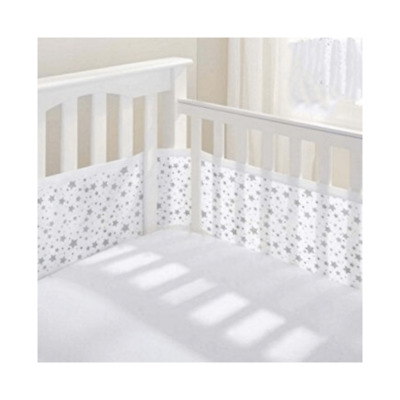 BreathableBaby Four-Sided Mesh Cot Liner – Twinkle Grey - Warehouse Clearance