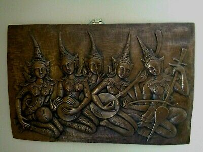 Metallic Lacquered Thailand Phra Apai Musicians Wall Hanging / Picture Heavy Vgc