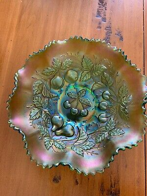 Northwood  Antique Carnival Glass  Green Three Fruits ruffled bowl**awesome**