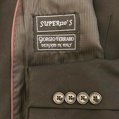 Giorgio Ferraro 2 piece black suit men size 46L pants 38x31 Super 120s