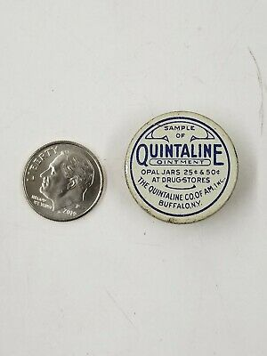 Vintage Quintaline Ointment Blue Miniature Sample Medicine Tin Buffalo Ny