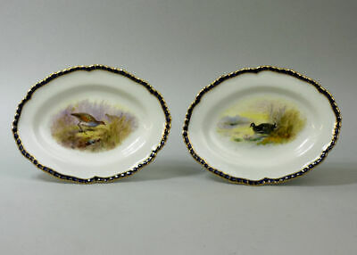 A Pair Of Royal Worcester Hand Painted Bird Design Dishes C.1906