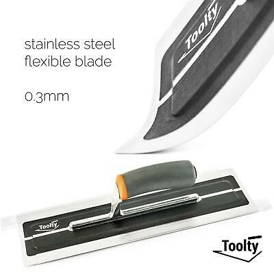 """Toolty, Flexible Plaster Finishing Stainless Steel Trowel Soft Grip Handle 14"""""""