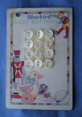 7418 Antique Bluebird Mother of Pearl Shell Button Card, Graphic Kid's Toys