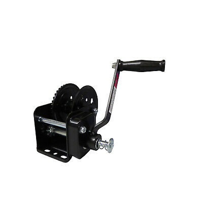 1600lbs BLACK COATED HAND WINCH with BRAKE trailer marine boat car yacht